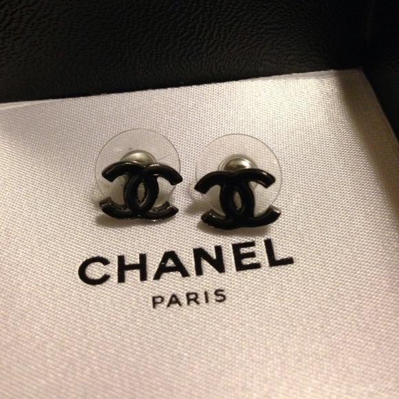 Chanel Classic Stud Earrings Black Chanel Stud Earrings