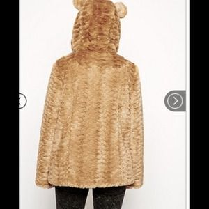 ASOS faux fur hooded coat with animal ears US 8