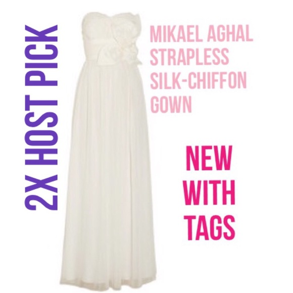 Mikael Aghal Dresses - Sunday Funday! NWT Mikael Aghal Silk-Chiffon Gown