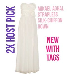 Sunday Funday! NWT Mikael Aghal Silk-Chiffon Gown