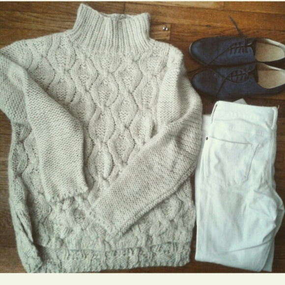10a91cb1b178 H&M Sweaters | Cable Knit Tan Turtleneck Oversized Sweater | Poshmark