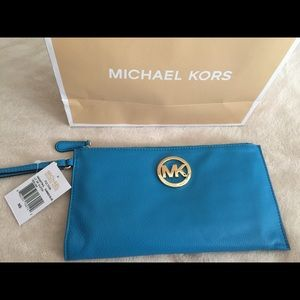 Authentic Michael Kors Summer Blue Leather Clutch.