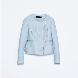 Zara Jackets & Blazers - Zara Blue leather jacket