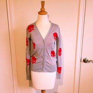 Grey Button Down Cardigan + Red Skulls
