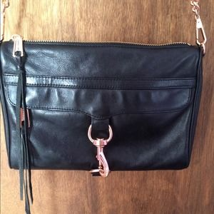 Rebecca Minkoff black leather with rose gold MAC