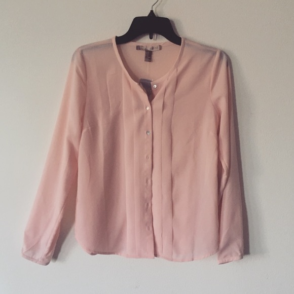 Forever 21 pastel pink chiffon button up blouse from for Pastel pink button down shirt