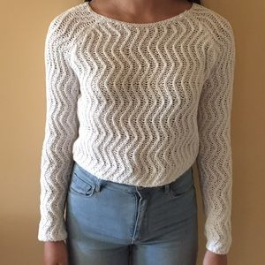 Cropped white sweater.