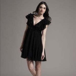 Marchesa Notte black ruffle mini dress