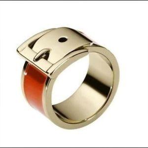 New  Exclusive MK Wide Buckle Ring Orange