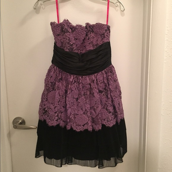 46347fc6bf7a1 Betsey Johnson Dresses | Purple Black Lace Party Dress Sz 4 | Poshmark