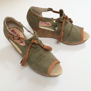 80%20 Washed Canvas & Leather Tassel Cork Wedges
