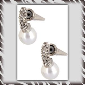 Jewelry - 🎄Silver Tone Pearl Pave Drop Cone Stud Earring