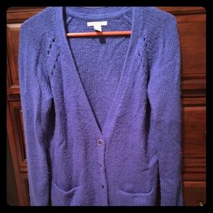 Bright blue boyfriend cardigan.
