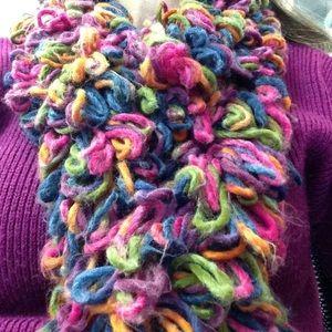 Colorful yarn scarf