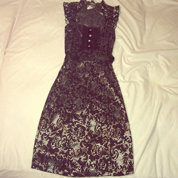 Silver and black lace dresses