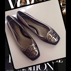 ❤️HP Tory Burch Wool Ballet Flats Silver Logo