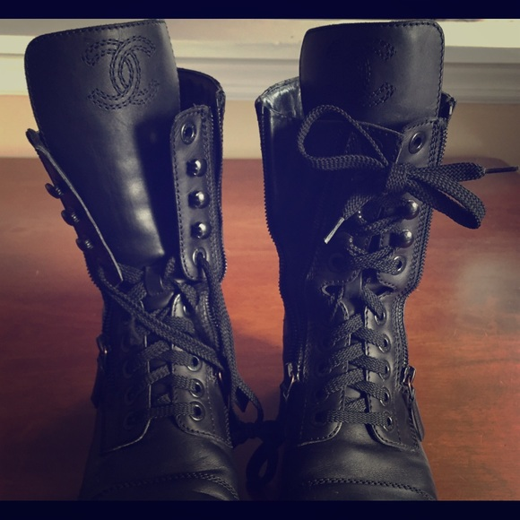Chanel Shoes Quilted Leather Combat Boots Poshmark