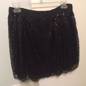 Jcrew Black Sequin Skirt