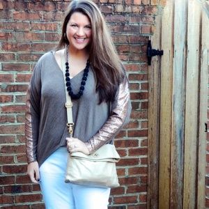Tops - Tan and Gold Sequined Sleeved Top