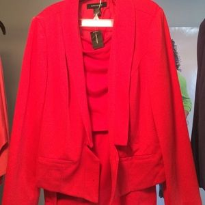 Red Suit w Gold Button Skirt