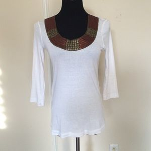 XCVI Tops - Embellished white Tee. Perfect for date nite!💋.