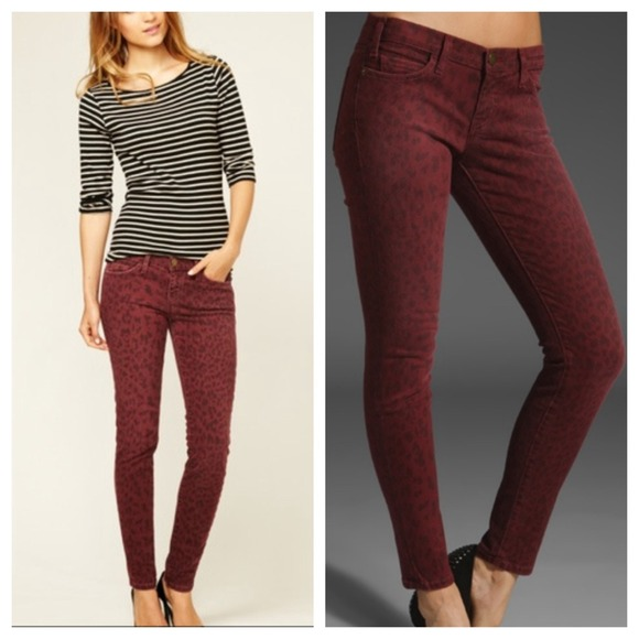 83% off Current/Elliott Denim - Current Elliot dark red leopard ...