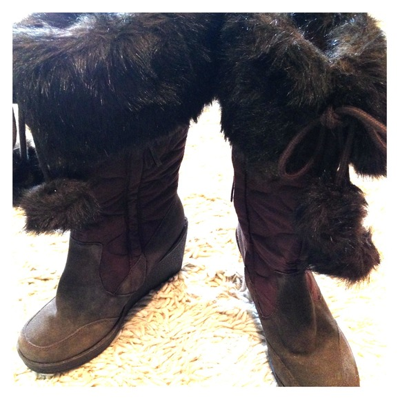 faux fur leather quilted wedge winter boots 7 5 from