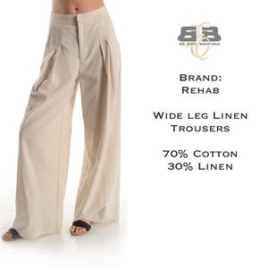 Pants - Wide Leg Linen Trousers