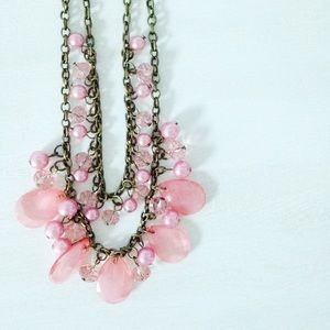 | new | pink jeweled necklace
