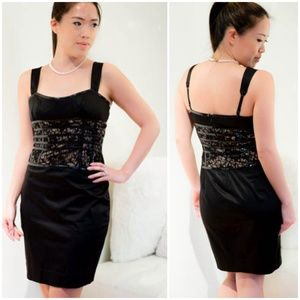 BEBE corset lace-lined black satin dress