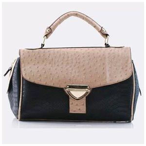 Black & Tan Vegan Ostrich Leather Satchel Handbag