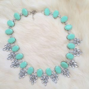 Mint green crystal leaves bib statement necklace