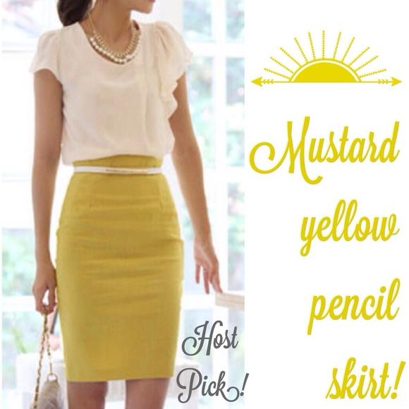 b7b6030a09 Skirts | Office Style Mustard Yellow Pencil Skirt | Poshmark