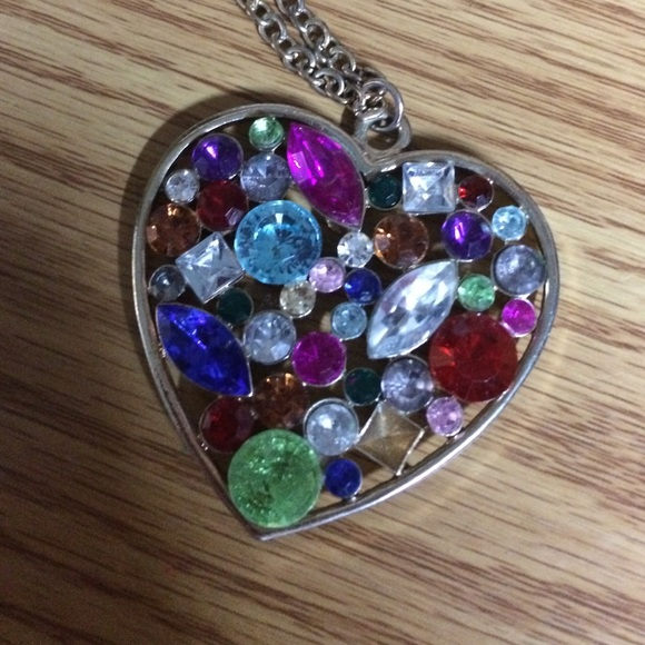 Blinged Out Heart Necklace OS From Janette & Ruba's Closet