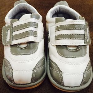 Gray and white toddler tennis shoes