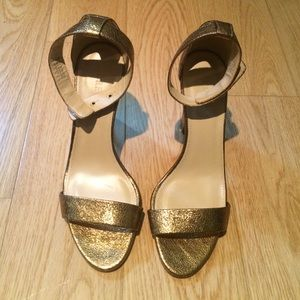 Jcrew antique gold crackle sandal heels
