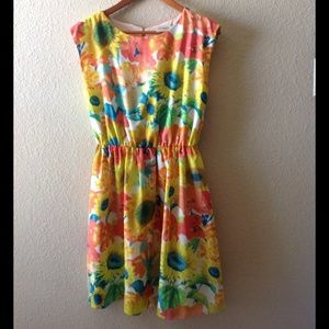 Vintage, colorful daisy, skater dress.