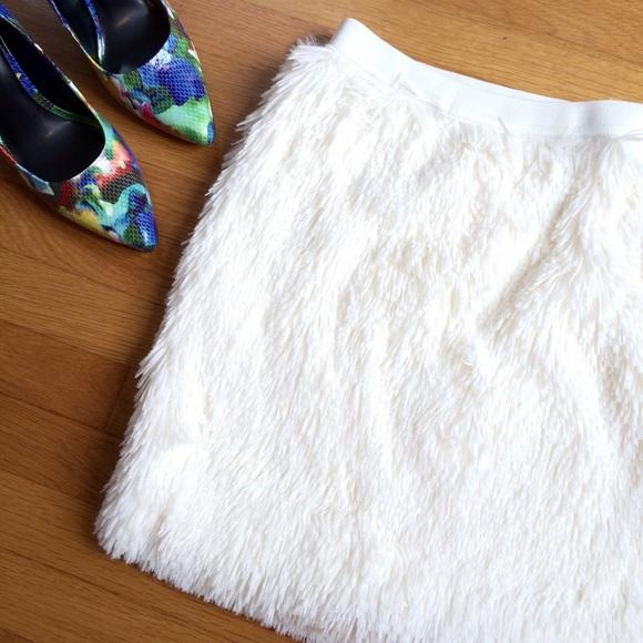 NWT Fun and Furry White Mini Skirt