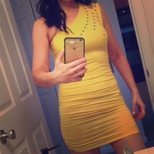 Dresses & Skirts - Yellow one shoulder dress with studs