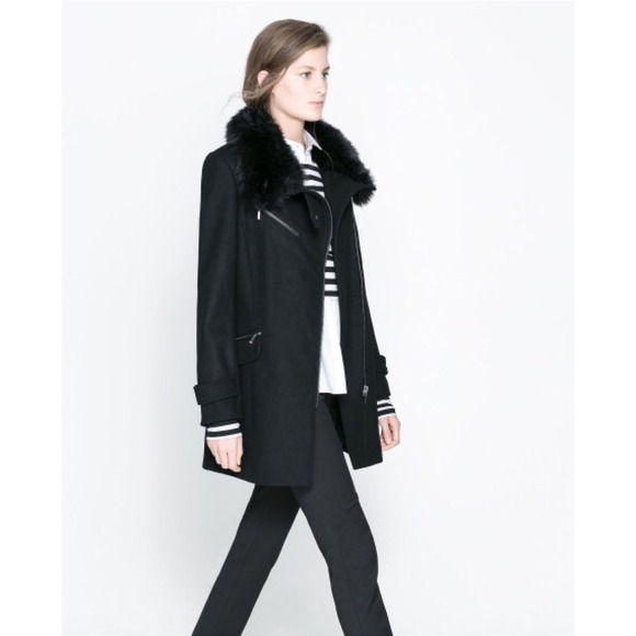 69% off Zara Jackets & Blazers - Black zara wool zip coat with fur ...