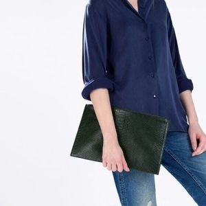 Zara embossed leather clutch