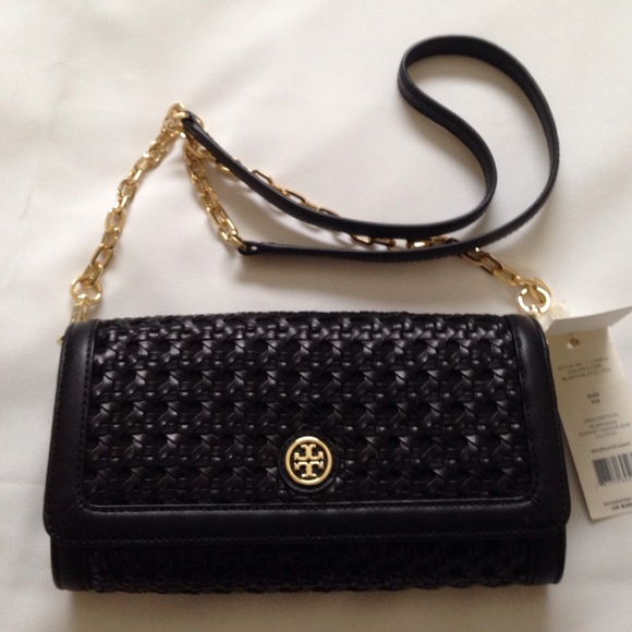 Tory Burch Bags New Robinson Basket Weave Clutch Bag Poshmark