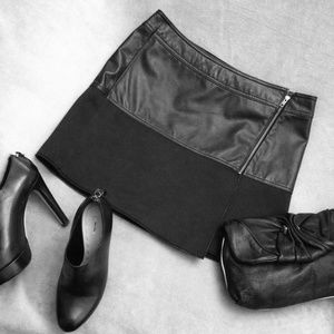 Edgy Leather Combo Skirt by Halogen