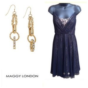 Maggy London Sheer over Nude Lace Dress