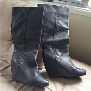 NWOT Kelsi Dagger Hidden Wedge Charcoal Boots