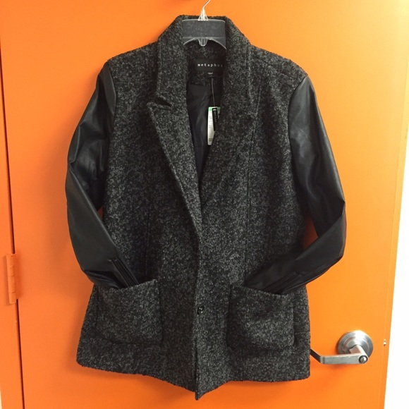 Sears Jackets & Coats - Mixed Media leather and Wool Coat