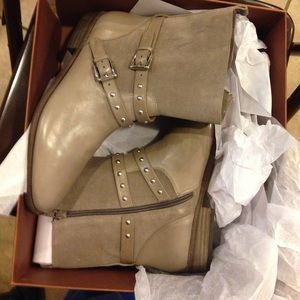 Coach Lilliana Suede Grey Buckle Studded Boots!