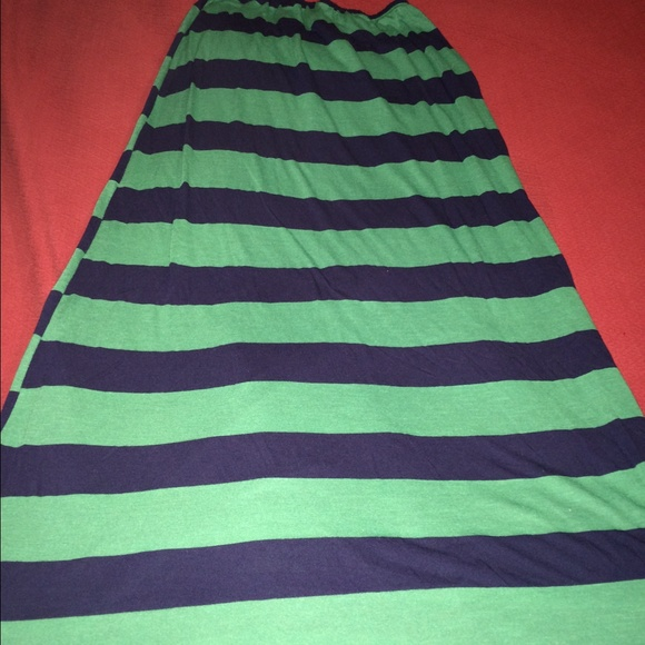 casa green and blue striped maxi skirt from shelley
