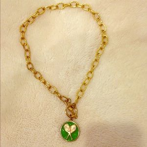 Jewelry - Large link gold necklace w/ tennis racquet charm.