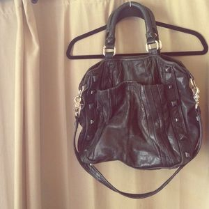 Authentic Junior Drake Black Leather Hobo Purse